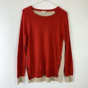 J. Crew Wool Blend Red/Tan LS Sweater Wm Sz S